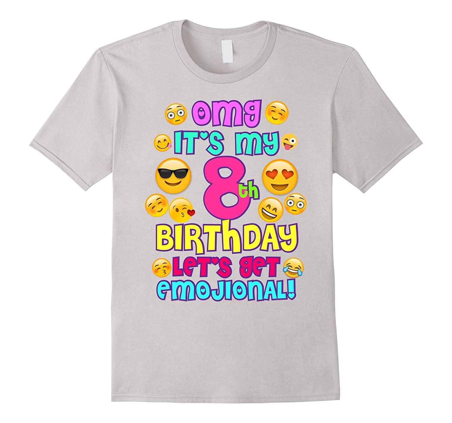 Birthday Girl TShirt For Age 8 It's My Birthday Emoji Fun