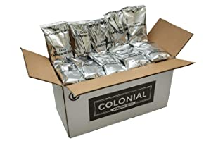 Colonial Coffee, High Caffeine Ground Coffee, 2.5 OZ Fraction Packs, 32 COUNT box, Bulk Bags