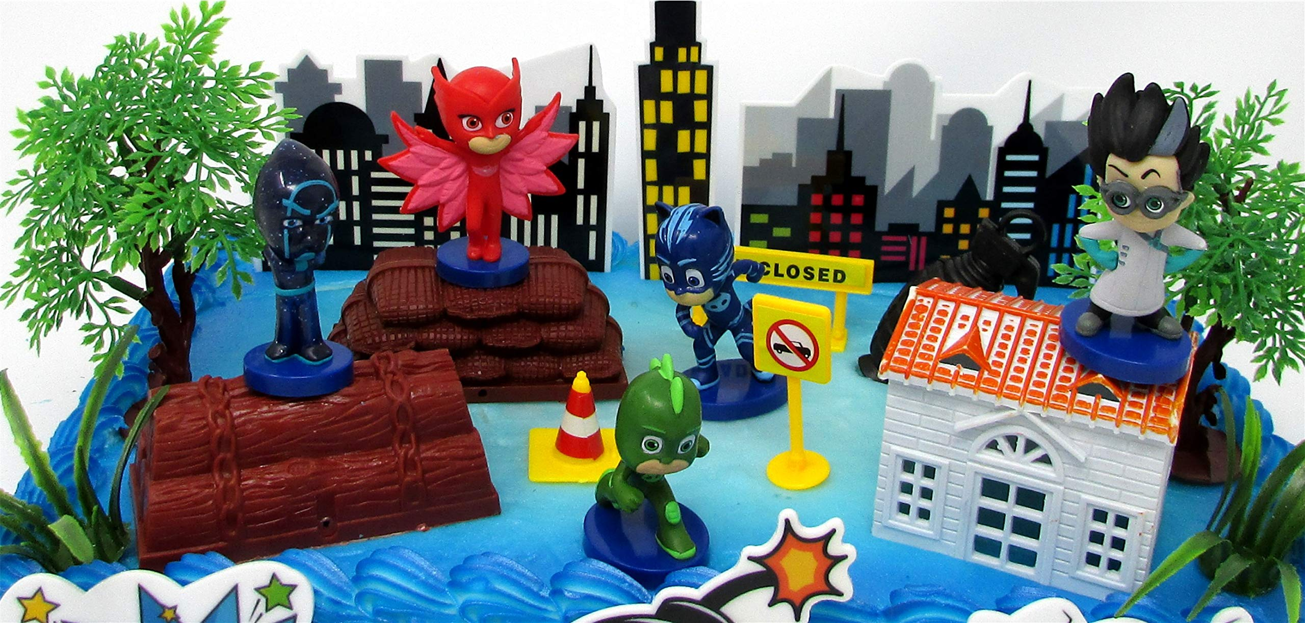Super Hero PJ MASKS Deluxe Birthday Party Cake Topper Set Featuring Figures and Decorative Accessories by Cake Toppers (Image #5)