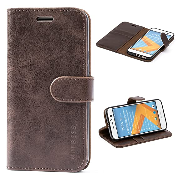 buy popular 5436d 63a3a HTC 10 Case,Mulbess Leather Case, Flip Folio Book Case, Money Pouch Wallet  Cover with Kick Stand for HTC 10,Coffee Brown