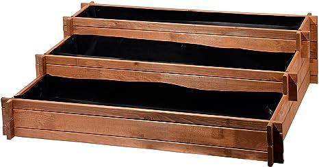 Bancal de Tres Pisos - Perú de Madera (Pino): Mesa bancal montable para Verduras, Hierbas, Flores, Flexible en su colocación, marrón, 110 x 88 x 36 ...