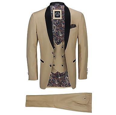d3dbde3e7b9e XPOSED Mens 3 Piece Black Shawl Lapel Champagne Gold Slim Fit Smart Vintage  Suit Wedding Prom