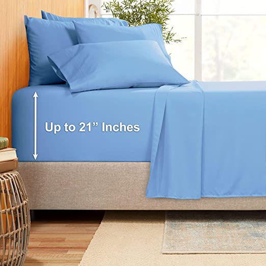 "800-TC Egyptian Cotton Sheet Set Solid 19-21/"" Deep Pocket Choose Size /& Color"