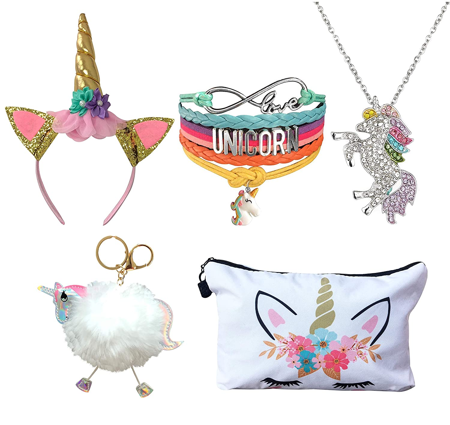5 Piece Unicorn Gift Set - Unicorn Makeup Bag/Unicorn Bracelet/Unicorn Necklace/Unicorn Keychain/Unicorn Headband (White)
