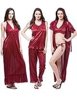 Fasense Satin Nightwear 6 Pcs Set of Nighty Robe Top Pajama Bra & Thong DP114