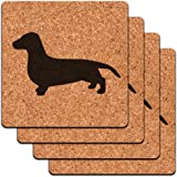 Dachshund Weiner Dog Low Profile Cork Coaster Set