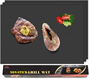 BBQMFG Enhanced BBQ Grill Mats - 100% Non-Stick Grill Sheets - Heavy Duty Grilling mats for Outdoor Grill, Long Service Life Design, Easy to Clean, 16 x 13 Inch, (Set of 3)