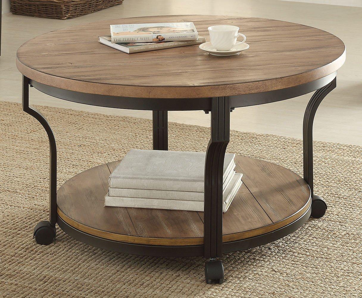 Industrial Fan Coffee Table Amazoncom Acme Furniture 80460 Geoff Coffee Table Oak Black