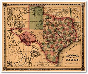 Texas and Southwest United States Schonberg's Map circa 1866 - measures 20 inches x 24 inches (508 mm x 610 mm)