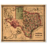 texas and southwest united states schonberg s map circa 1866 measures 20 high x 24