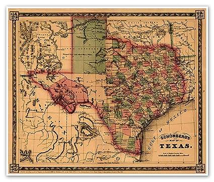 Amazon.com: TEXAS and Southwest United States Schonberg\'s MAP circa ...