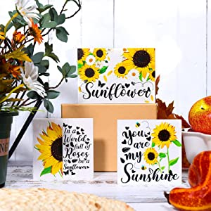 3 Pieces Sunflower Tiered Tray Wood Signs Sunflower Farmhouse Tray Decor Inspired Summer Fall Decor Rustic Mini Wood Kitchen Signs Sunshine Decor