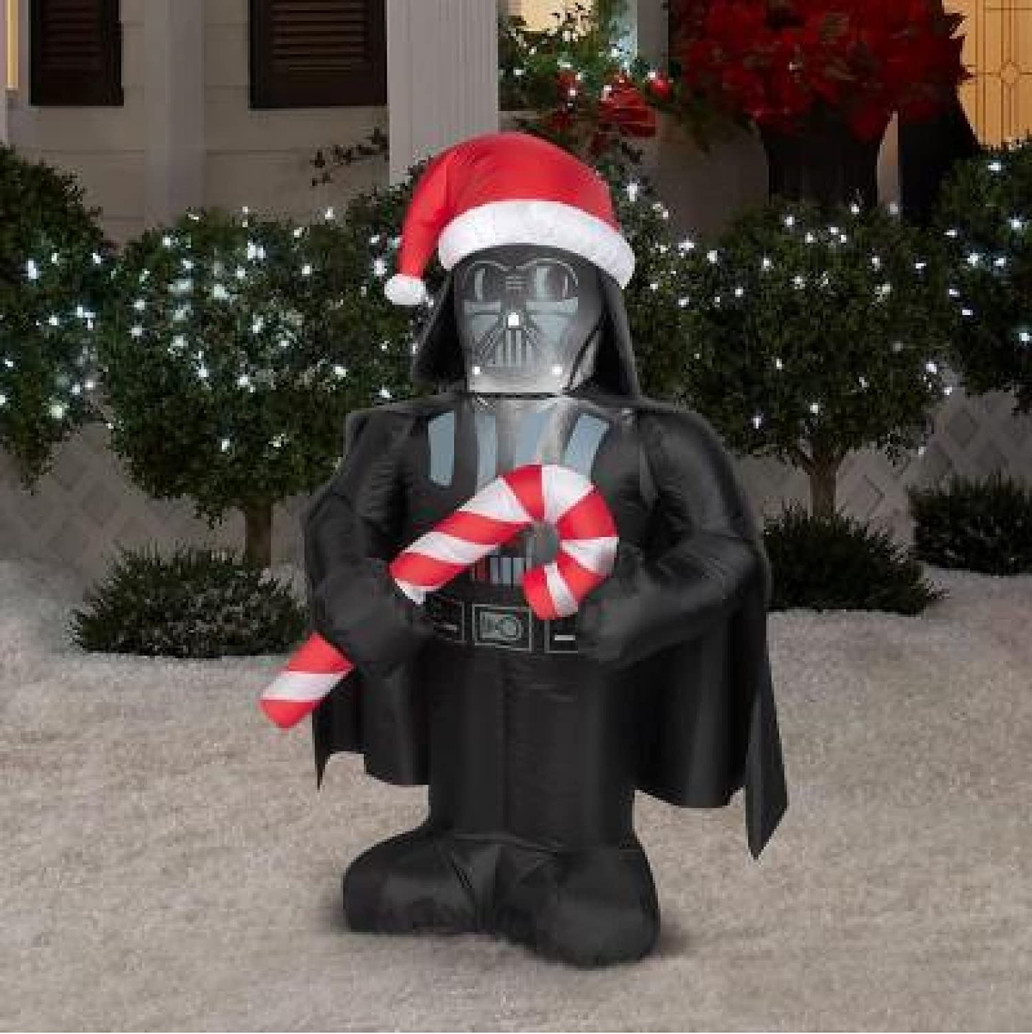 3 5 Inflatable Darth Vader Star Wars with Candy Cane Christmas Outdoor Yard Art