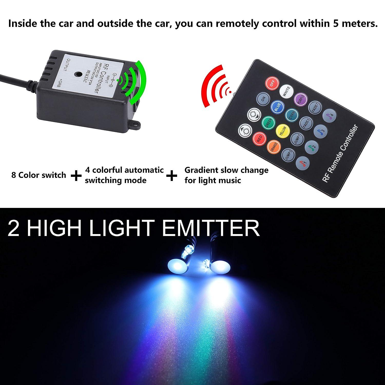 Interni Atmosfera luci al Neon Striscia per Auto 1 W DC12 V 1 Set Impermeabile TABEN Auto Decorazione Interna Atmosfera Luce LED Interni Auto Kit di Illuminazione con 8 Colori