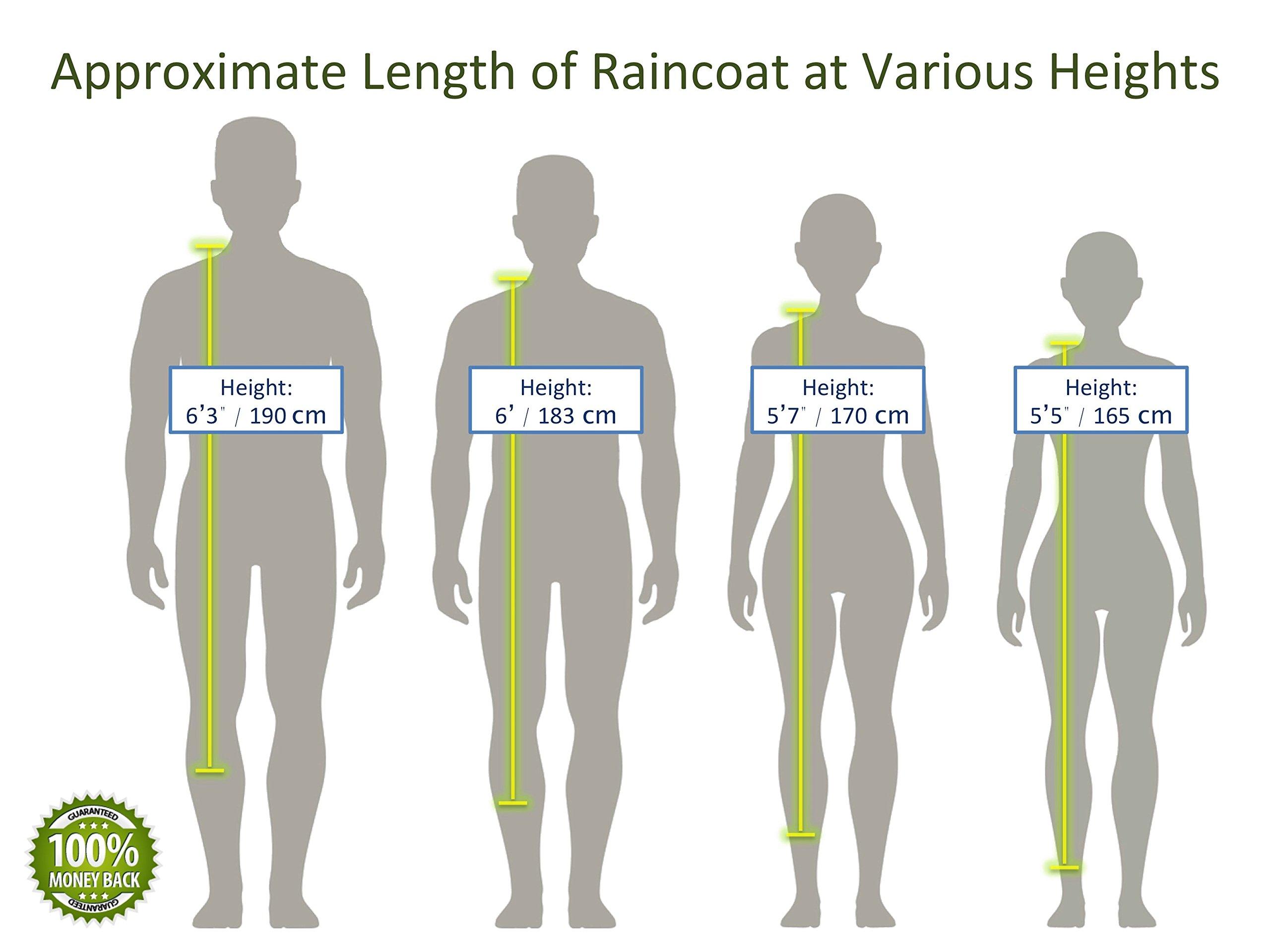 BlinQ Portable Rain Poncho Rain Jacket Raincoat with Drawstring Hood on