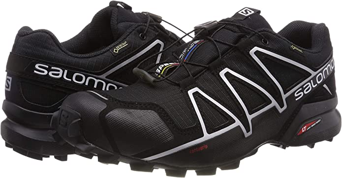 Salomon Zapatillas de trail running Speedcross 4 GTX para hombre negras / negras / plateadas met¨¢licas X con calcetines - 9: Amazon.es: Zapatos y complementos