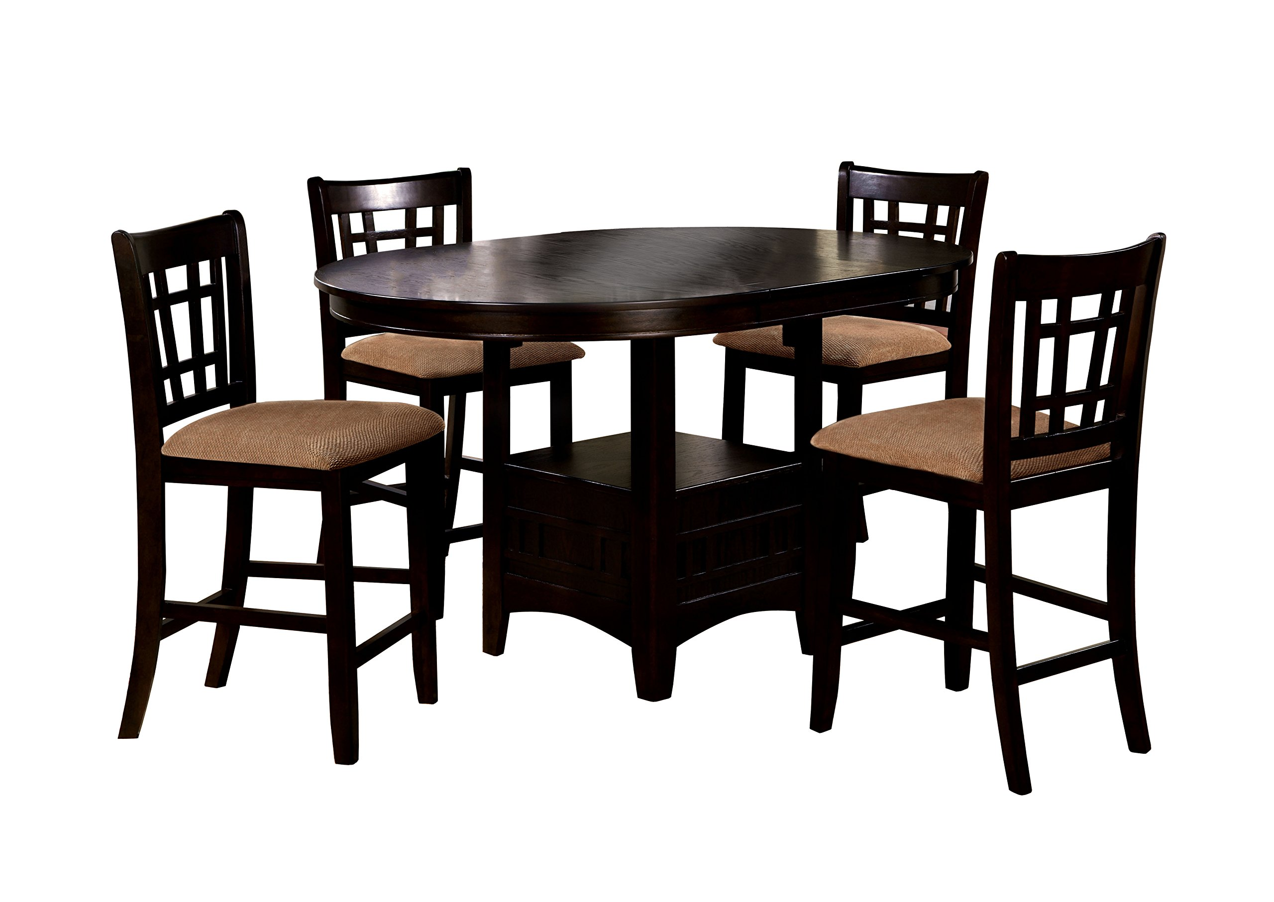 HOMES: Inside + Out IDF-3032PT-5PC Erron 5 Piece Counter Height Table Set with 18'' Expandable Leaf, Cherry