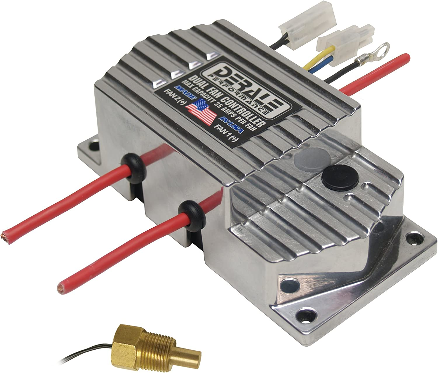 "Derale 16789 High Amperage Dual Fan Controller with 3/8"" NPT Thread In Probe"