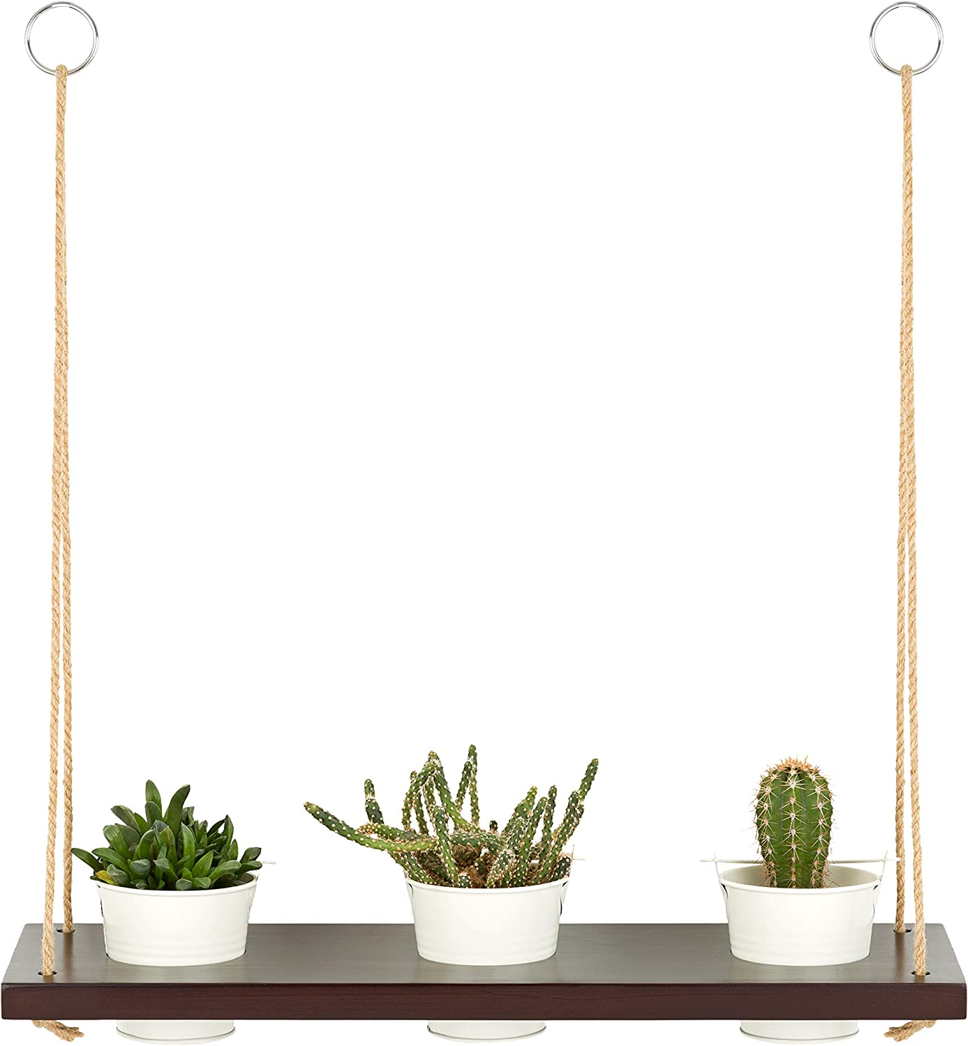 Flareglow Vertical Window or Wall Hanging Planter Wood Floating Shelf with Succulent Herb Plant Pot Set for Indoor Decorative Use in Kitchen, Living Room, Bathroom or Balcony (3 Pots Included)