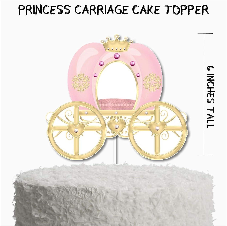 Pink Princess Carriage Cake Topper, Pink Princess Birthday Party Decor, Pink Princess Party Supplies