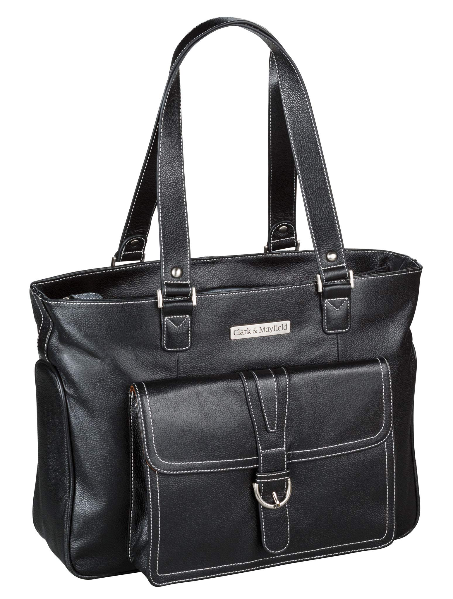 Clark & Mayfield Women's Stafford Pro Leather Laptop Tote Bag 15.6'' - Black