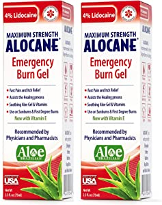 Alocane® Emergency Burn Gel, 4% Lidocaine Max Strength Fast Pain Itch Relief for Minor Burns, Sunburn, Kitchen, Radiation, Chemical, First Degree Burns, First Aid Treatment Burn Care 2.5 Fl Oz, 2 Pack