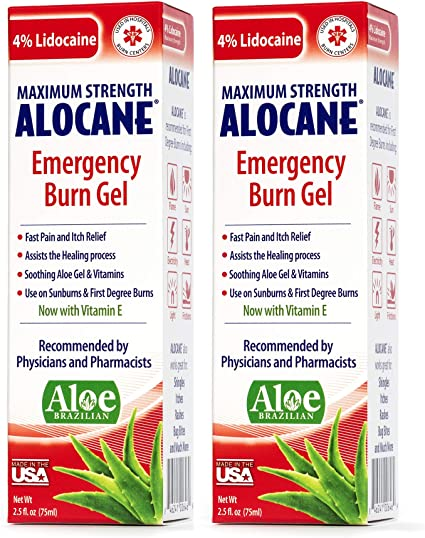 Amazon Com Alocane Emergency Burn Gel 4 Lidocaine Max Strength Fast Pain Itch Relief For Minor Burns Sunburn Kitchen Radiation Chemical First Degree Burns First Aid Treatment Burn Care 2 5 Fl Oz 2