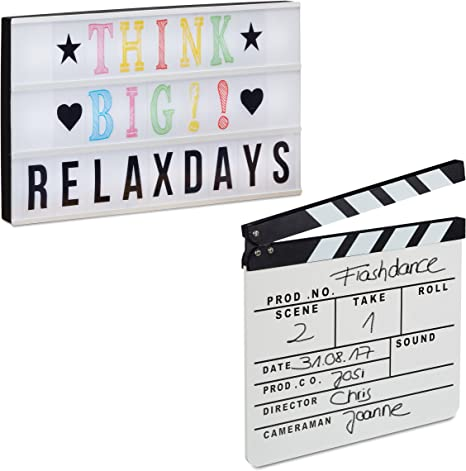 Relaxdays Pack de Caja de Luz Led con Letras y Claqueta Cine de Madera, Blanco: Amazon.es: Deportes y aire libre