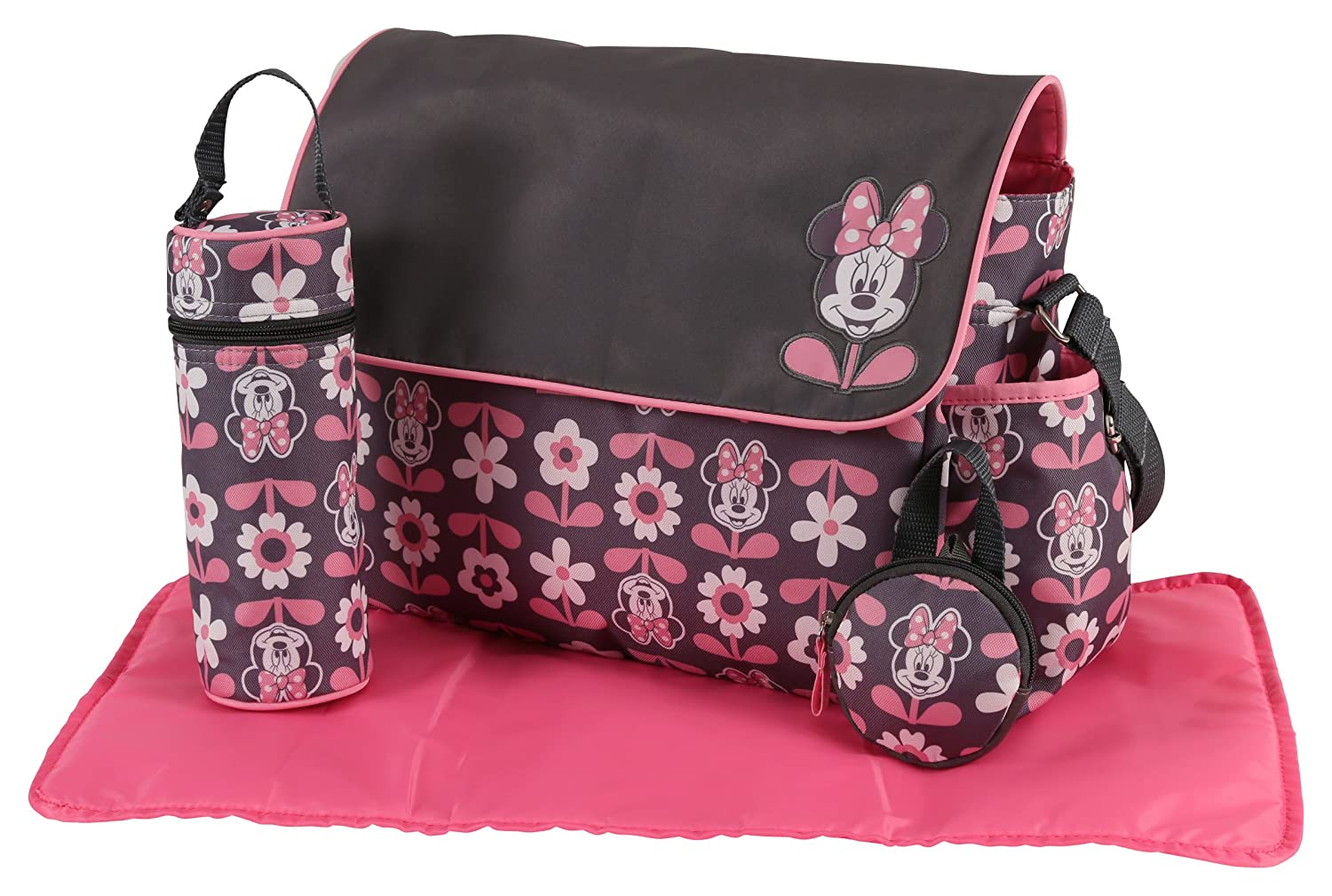 Disney Minnie Mouse Multi Piece Diaper Bag with Flap, Floral Print, Gray/Pink Cudlie Accessories DB30349-013-GRY