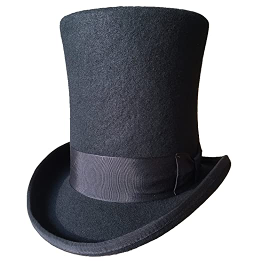 Amazon.com  Authentic Black Wool Felt Victorian Steampunk Extra Tall ... ebb821aa84be