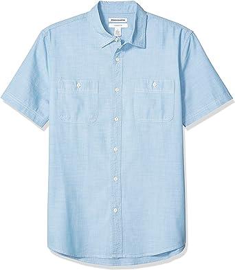 Amazon Essentials - Camisa de cambray con manga corta y corte ...