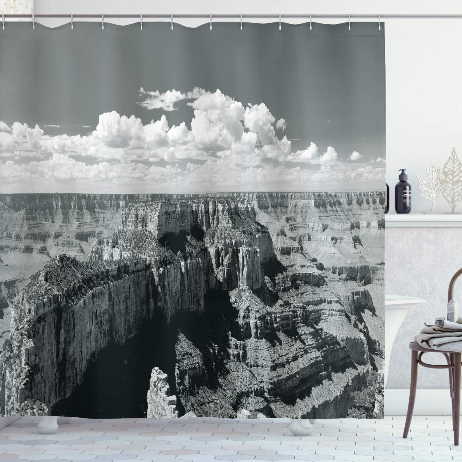 """Ambesonne Canyon Shower Curtain, Nostalgic Photo of Finding Grand Canyon Peaks in National Park with Cloud Print, Cloth Fabric Bathroom Decor Set with Hooks, 70"""" Long, Grey"""