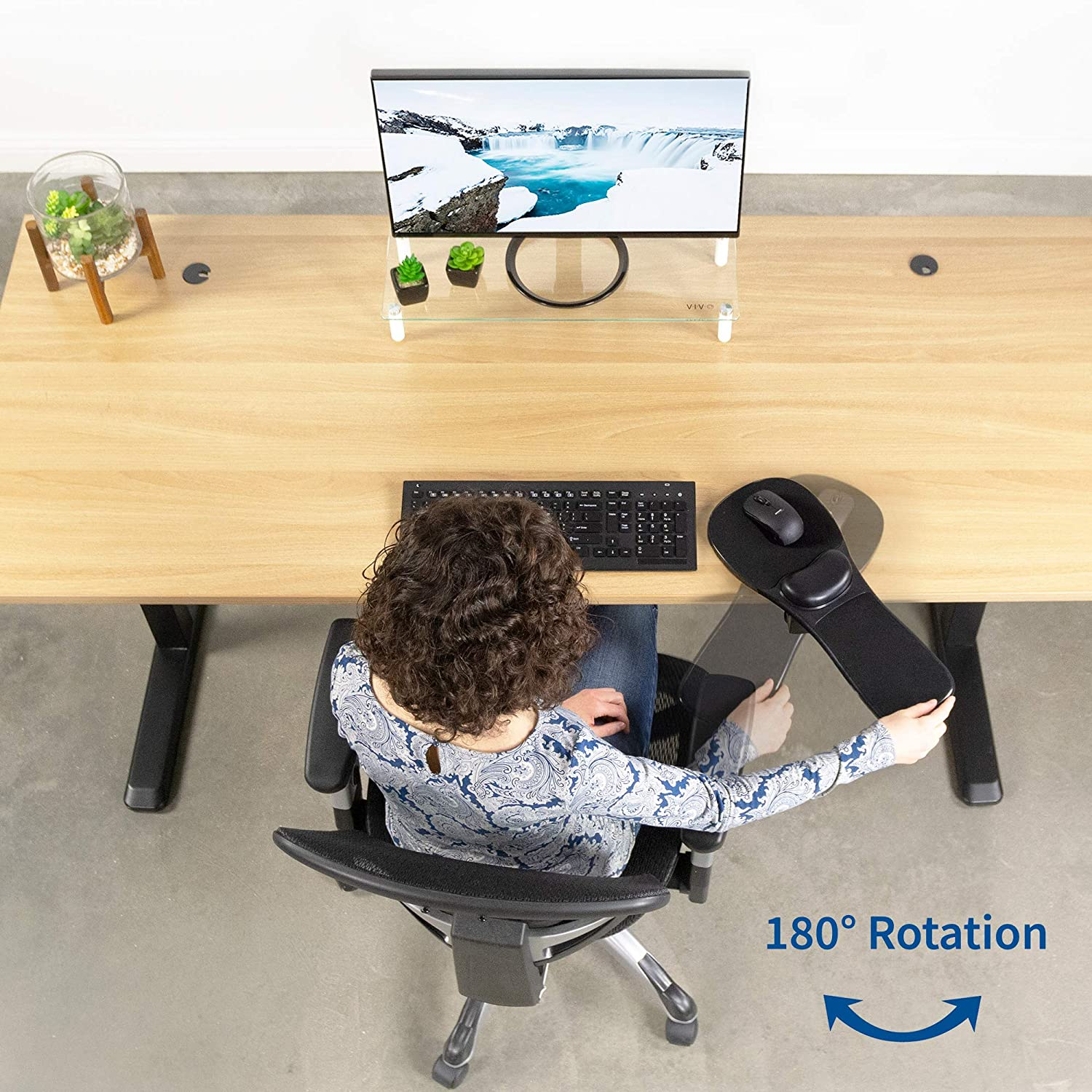 Extension Platform Tray Attaches to Desk or Chair MOUNT-MS02B VIVO Black Universal Clamp-on Adjustable Arm Rest Mouse Pad with Wrist Cushion