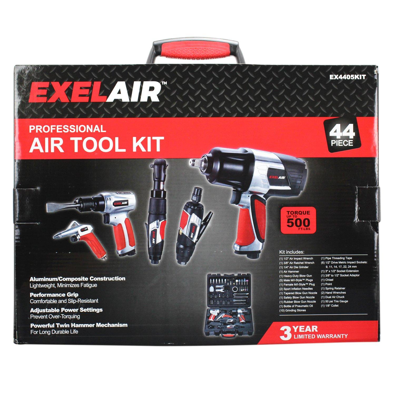 EXELAIR by Milton EX4405KIT (44-Piece Professional Air Tool Accessory Kit) - Impact Wrench, Air Ratchet, Die Grinder, Blow Gun, Air Hammer, Dual Air Chuck, Tire Gauge, and Accessories