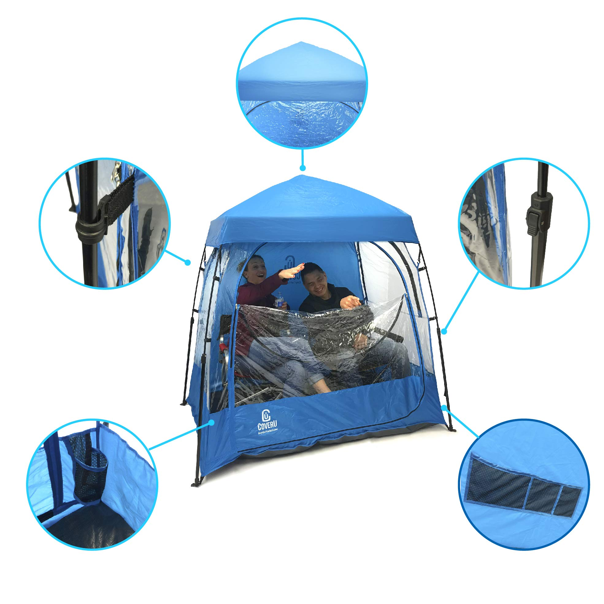 EasyGO CoverU Sports Shelter – 1 or 2 Person Weather Tent Pod – Patents Pending (2 People-Blue)