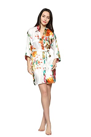 39054031a2 Pretty Bash Floral-Garden-Print Satin Kimono Robe for Regular and Plus Sizes  (