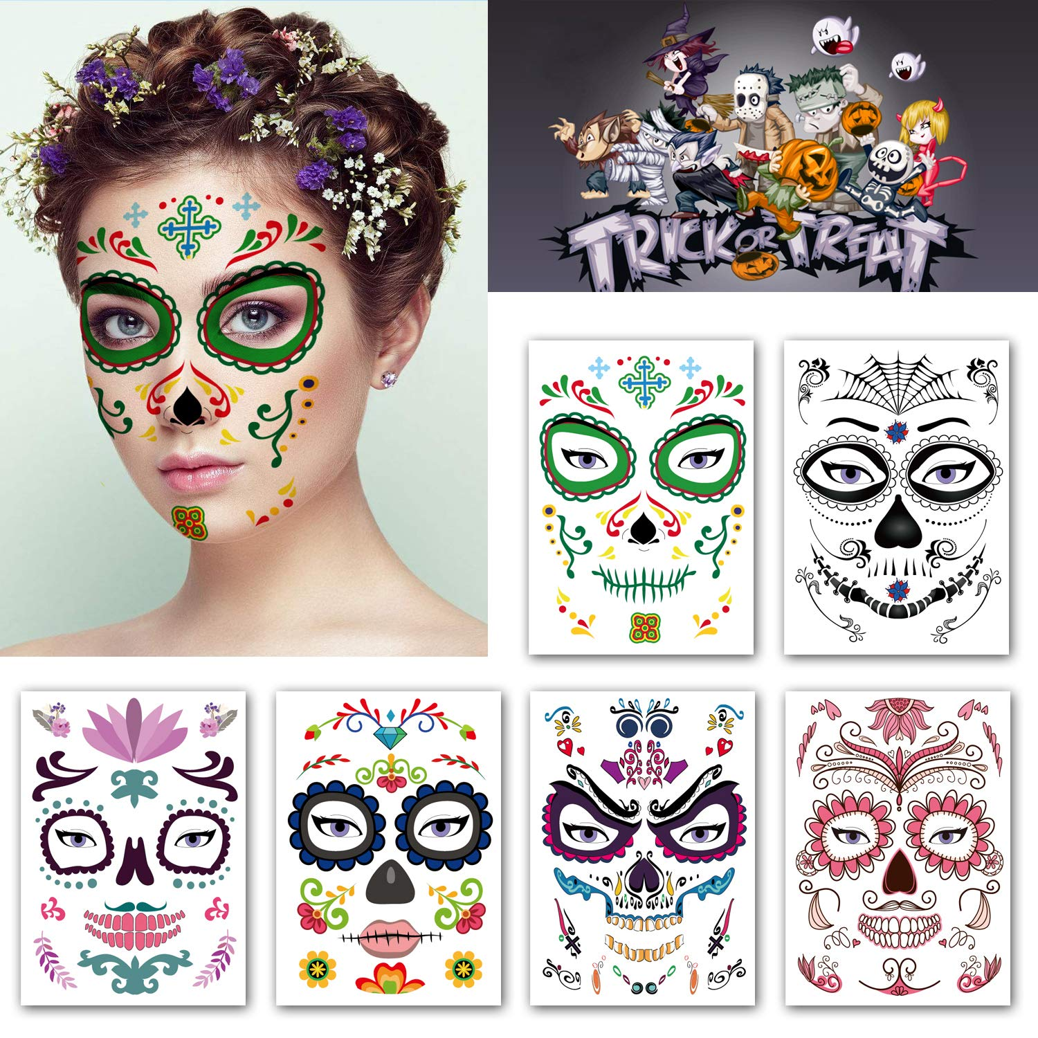 Kotbs 6 Sheets Temporary Face Tattoo Kit Halloween Temporary Tattoos Floral Day of the Dead Sugar Skull Tattoo Sticker for Women Men Fake Tattoo