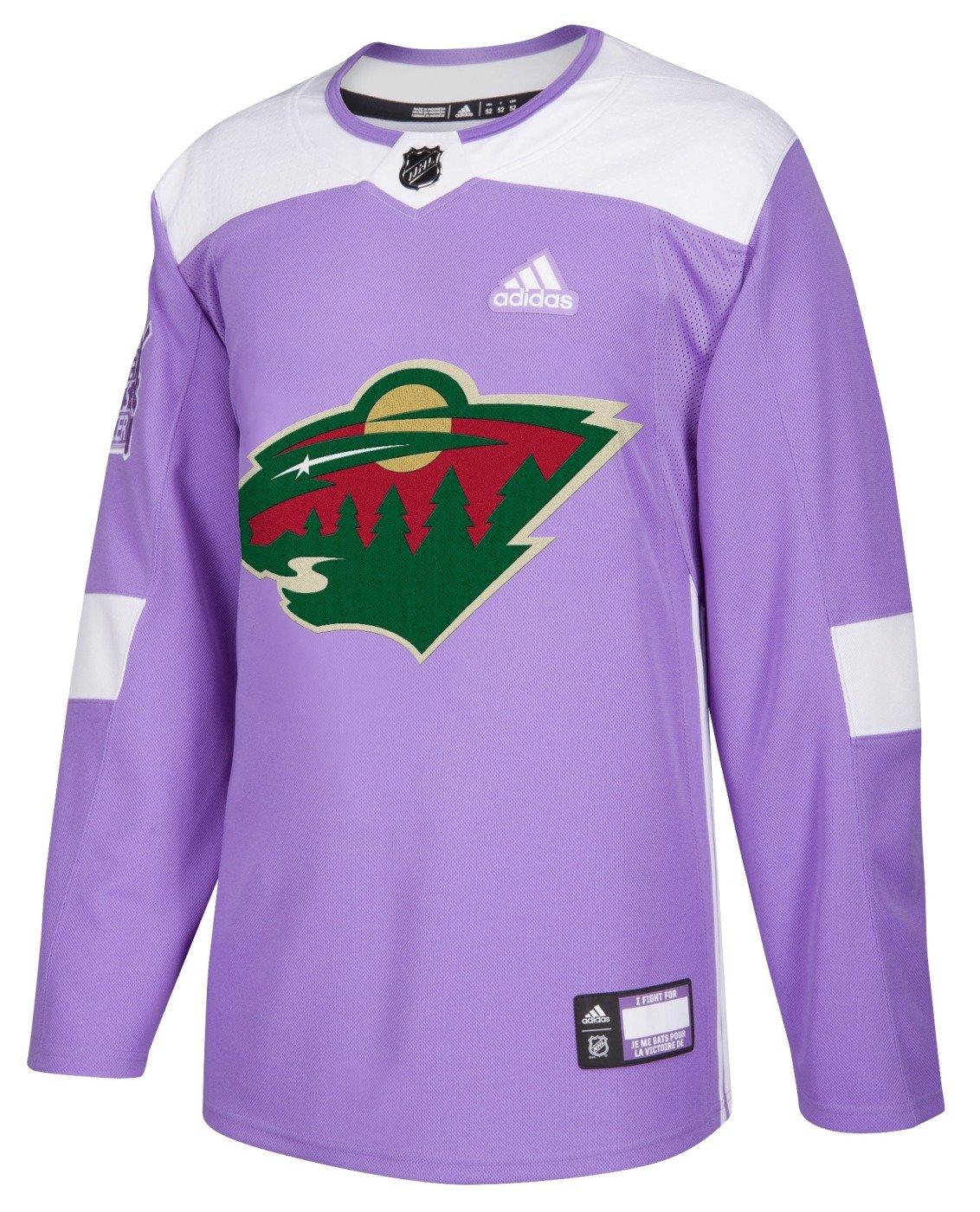 adidas Minnesota Wild NHL Hockey Fights Cancer Men's Authentic Practice...