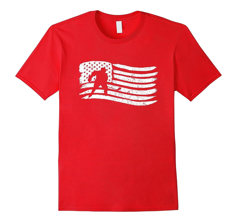 American Flag T-Shirt For Hockey Player Patriotic-TH
