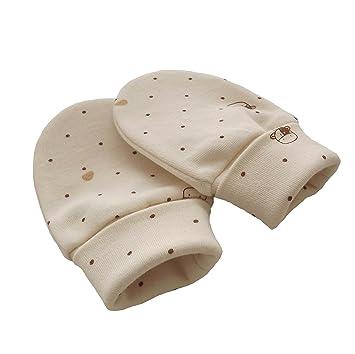 Baumwolle Spitze Bio Baumwolle Jersey Neugeborene Baby Anti Kratz F/äustlinge Handschuhe Farbe Beige
