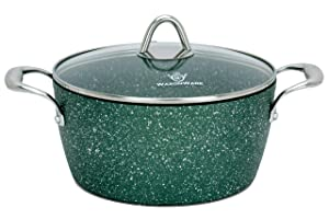 WaxonWare 4.5 Quart Stone Nonstick Dutch Oven Casserole Stockpot, Anti-Warp Non Toxic APEO PFOA Free Nonstick Cookware, Induction Compatible, Dishwasher & Oven Safe Nonstick Pot (EMERALD Series)