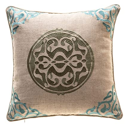 Incredible Tinas Home Embroidery Linen Medallion Decorative Throw Pillows With Down Feather Insert Couch Sofa Bed Home Kitchen Accent Pillows 20 X 20 Inches Inzonedesignstudio Interior Chair Design Inzonedesignstudiocom