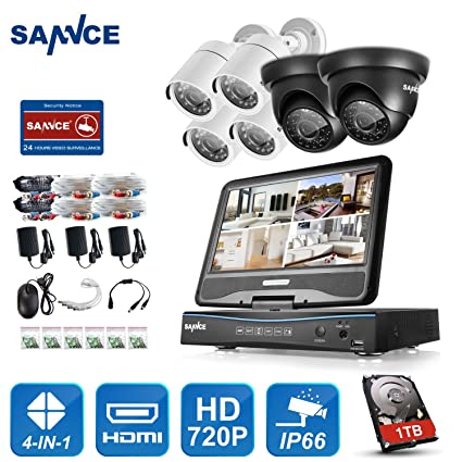 SANNCE 4Pcs 1500TVL In//Outdoor IR-CUT IP66 Housing CCTV Security 720P TVI Camera