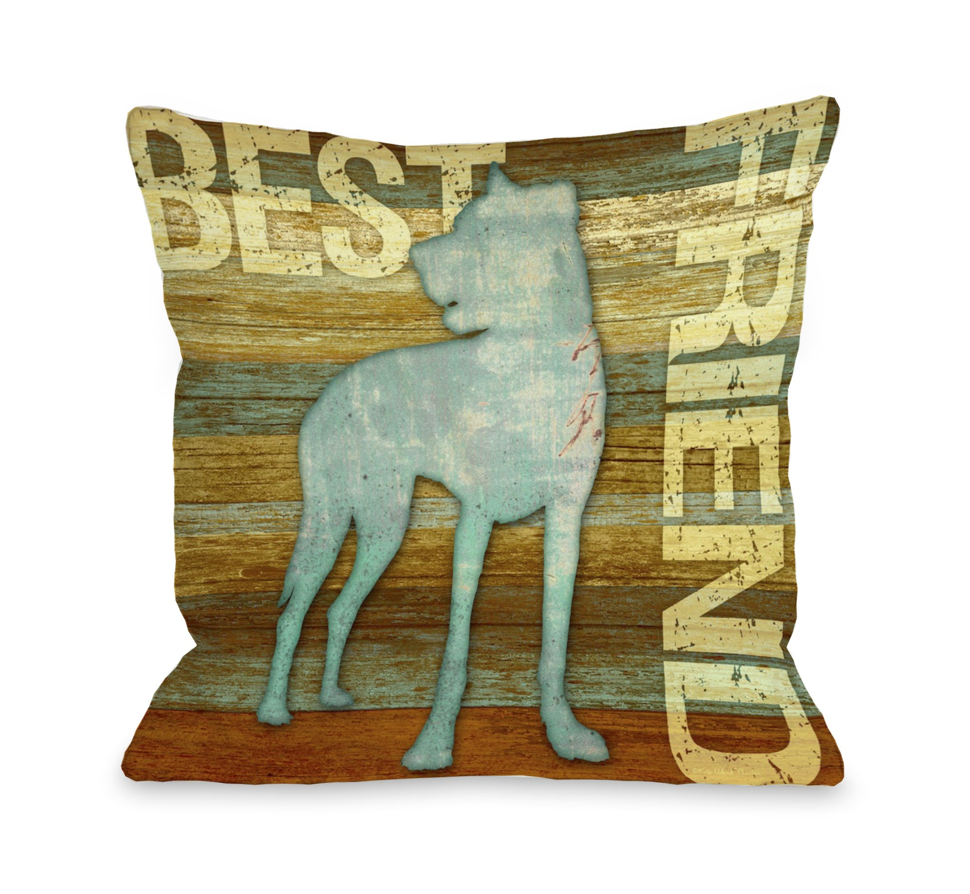 One Bella Casa Best Friend Wood Throw Pillow, 20 by 20-Inch