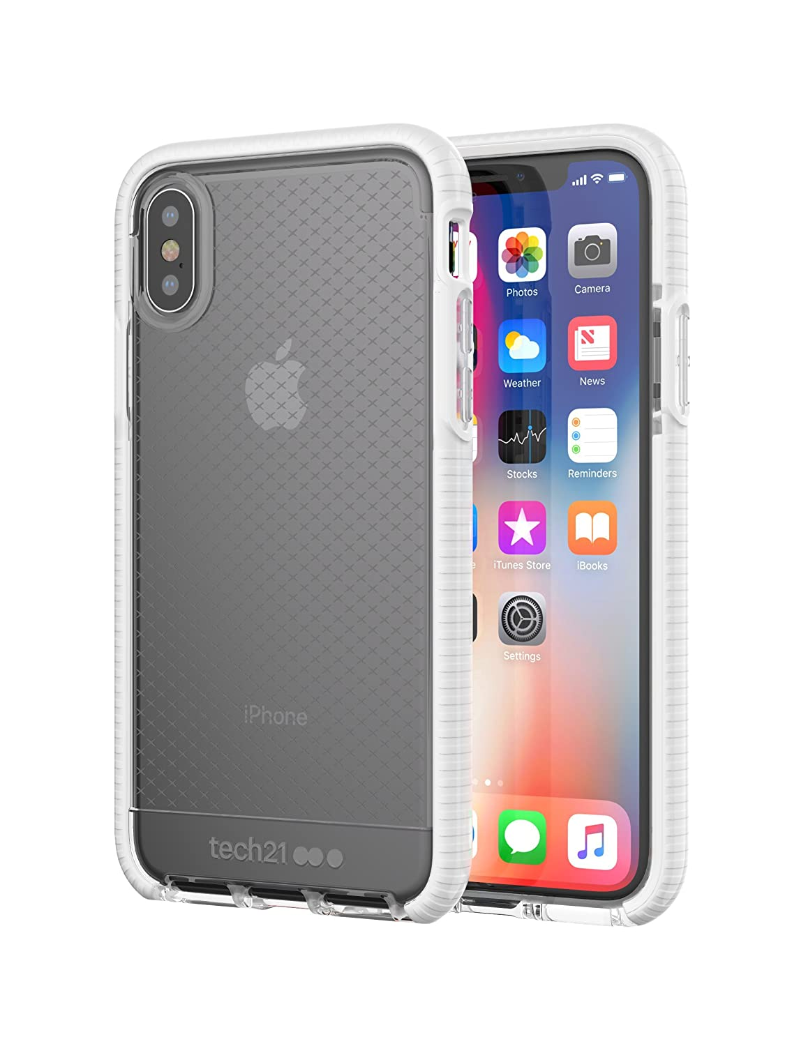 pretty nice 5062c c8911 tech21 - Phone Case Compatible with Apple iPhone X/Xs - Evo Check -  Clear/White