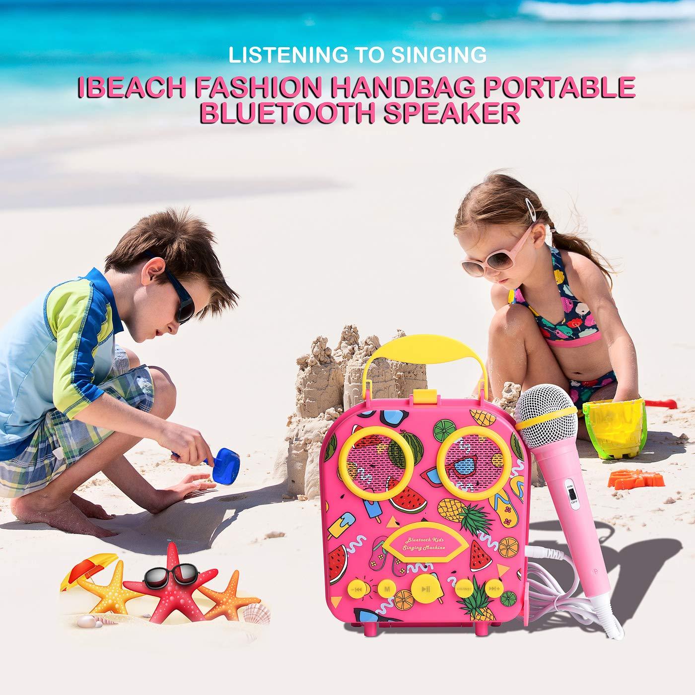 Bluetooth Speaker Children's Karaoke Speaker Portable Microphone Beach Handbag Karaoke Bluetooth Speaker Wireless Cartoon Speaker for Kids for Indoor Outdoor Travel Activities with Microphone (Pink) by HowQ (Image #9)