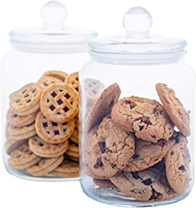 Airtight Glass Cookie and Candy Jars With Lids, Glass Jars For Food Storage, Set Of 2 (0.5 Gallon)