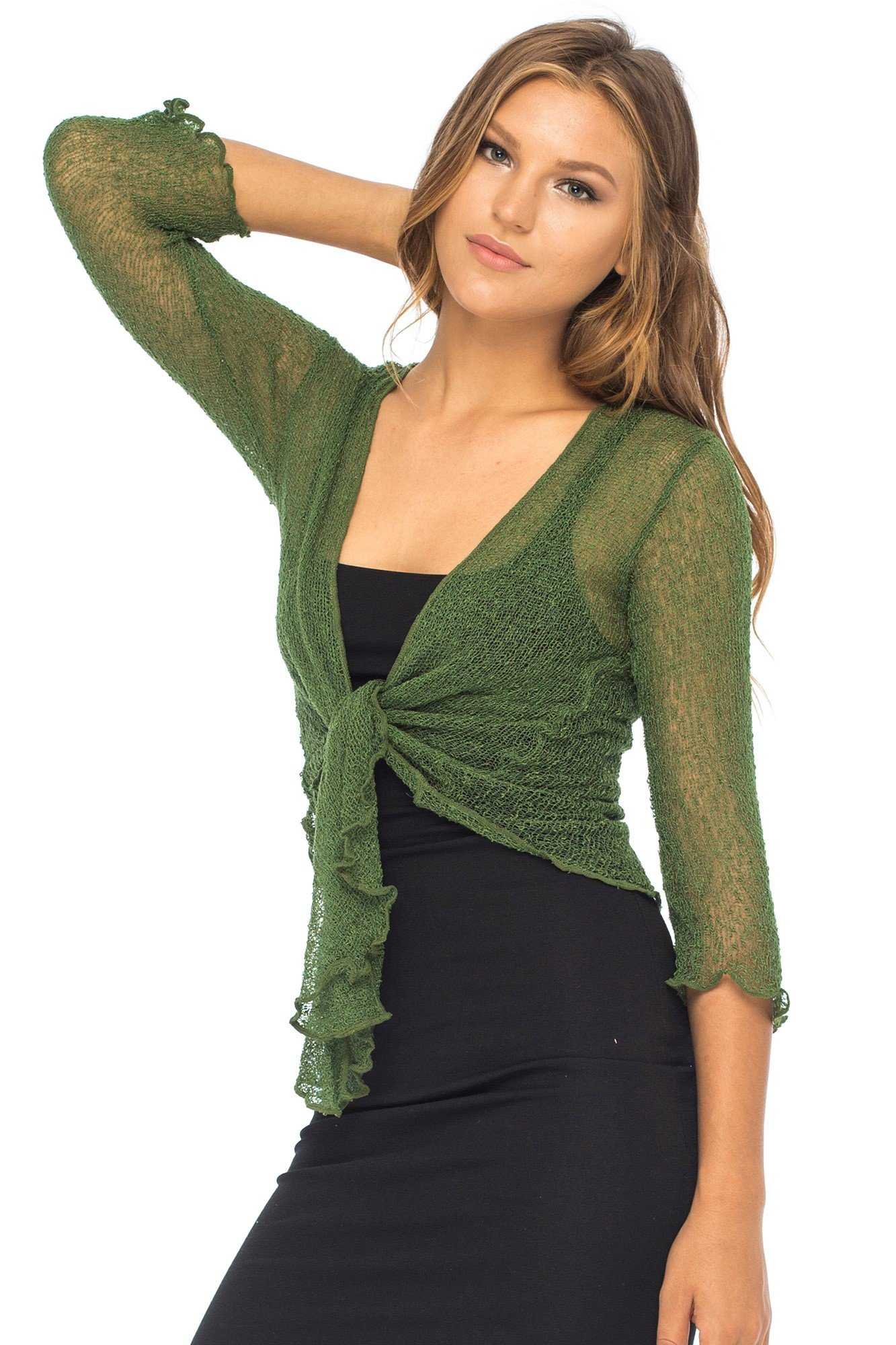 Back From Bali Womens Lightweight Knit Cardigan Shrug Lite Sheer Hunter Green