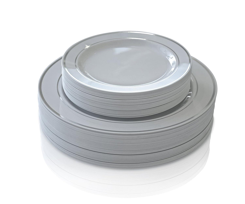 Amazon.com \ OCCASIONS\  50 Pack Premium Disposable Plastic plates( 25 Dinner + 25 Salad plates) White/ Silver Rim Kitchen \u0026 Dining  sc 1 st  Amazon.com & Amazon.com: \