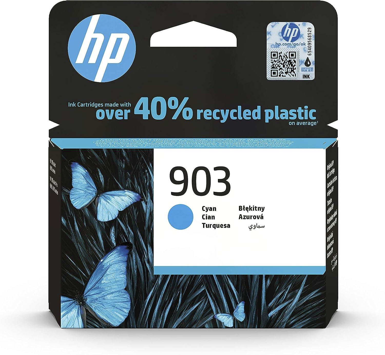 HP 903 T6L87AE, Cian, Cartucho de Tinta Original, compatible con impresoras de inyección de tinta HP OfficeJet 6950, 6951; OfficeJet Pro 6960, 6970
